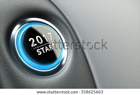 2017 push button. Concept of new year, two thousand seventeen.