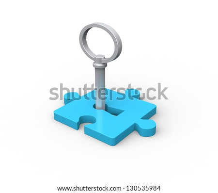 puzzle piece with key - this is a 3d render illustration