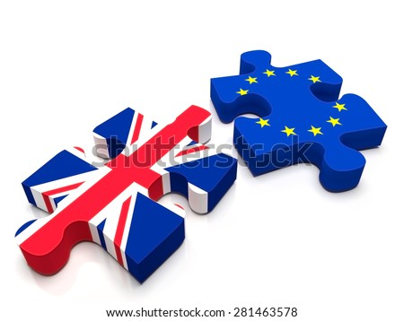 2 puzzle pieces: One containing the British Flag and the other the European Union / EU flag. Is UK leaving Europe with the BREXIT? - stock photo
