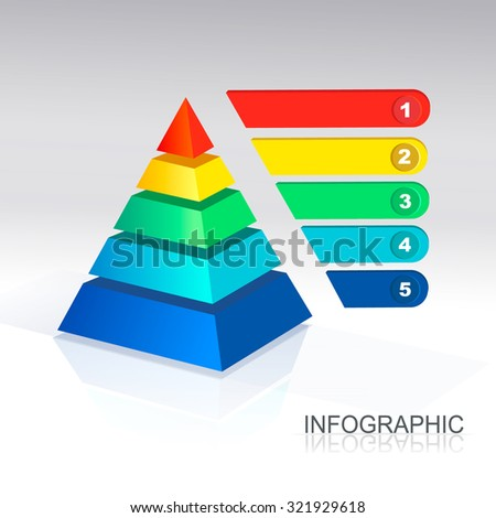 Pyramid chart for infographic and presentations illustration