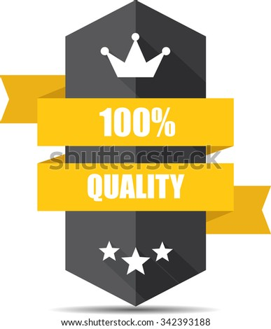 100% Quality Black Shield With Yellow Ribbon Label, Sticker, Tag, Sign And Icon Banner Business Concept, Design Modern With Crown.  - stock photo