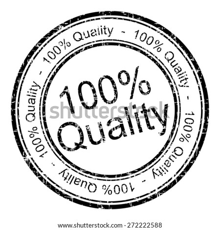 100% Quality rubber stamp - stock photo