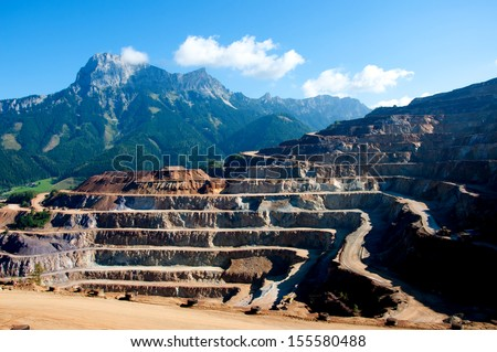 quarry extracting iron - stock photo