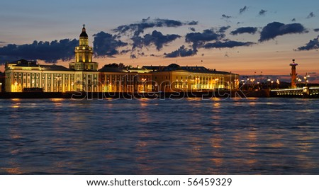 quay a panorama in St. Petersburg at night