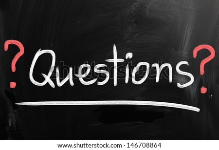 """""""Question"""" ; handwritten with white chalk on a blackboard. - stock photo"""
