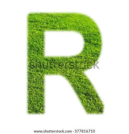 """R"" uppercase alphabet made of grass texture, isolated on white background"