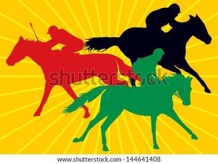 3 racing horses with jockeys, drawings of in colorful silhouettes with background of yellow sun rays - stock photo