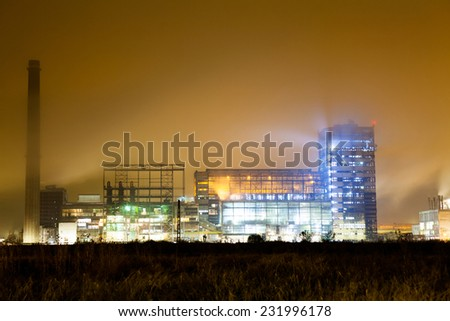 14. 11. 2014, Ramnicu-Valcea Romania. Petrochemical plant in night. Long exposure photography