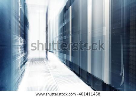 ranks of modern server hardware in data center - stock photo