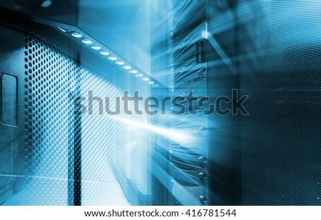 ranks of modern server hardware in the data center - stock photo