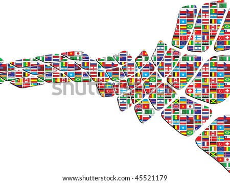 (raster image of vector) abstract background with world flags