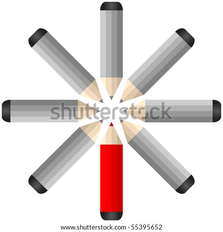 (raster image of vector) alone pencil