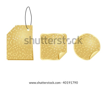 (raster image of vector) golden stickers
