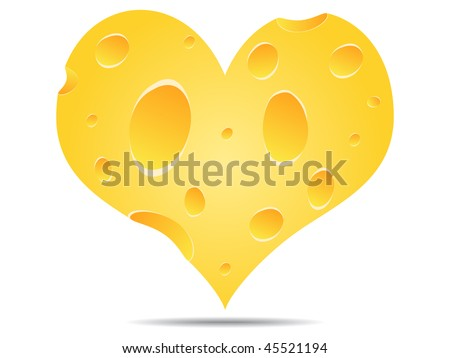 (raster image of vector) heart made of cheese - stock photo