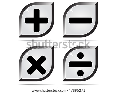 (raster image of vector) mathematics buttons