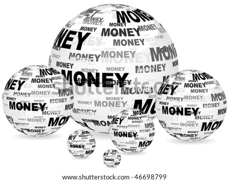 (raster image of vector) money text on balls