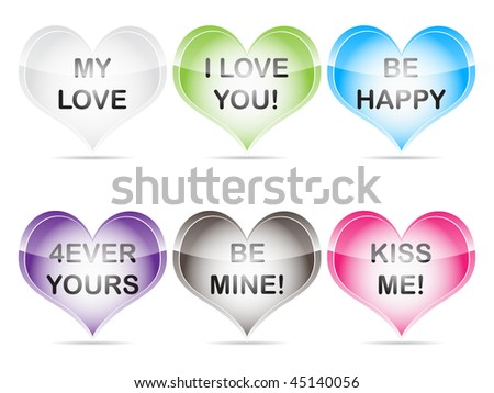 (raster image of vector) Valentine candy heats - stock photo