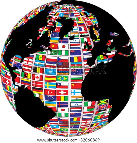 (raster image of vector) world map with country flags on it