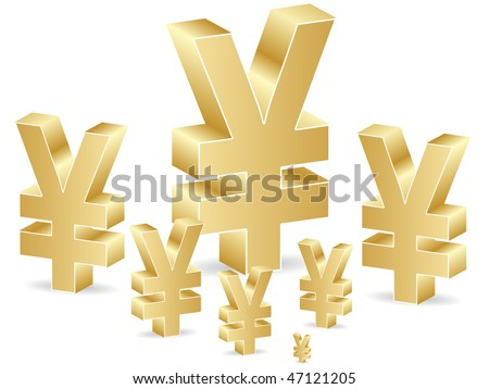 (raster image of vector) yen icon - stock photo