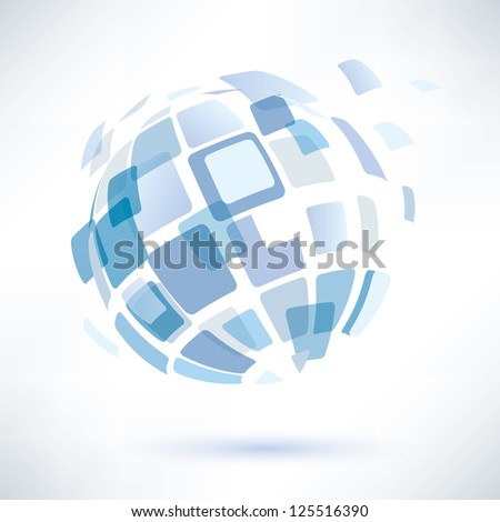 raster version. abstract globe symbol, internet and social network concept - stock photo