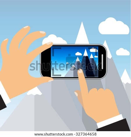 Raster version. mobile phone with touchscreen - man taking photograph with digital device - flat icon - stock photo