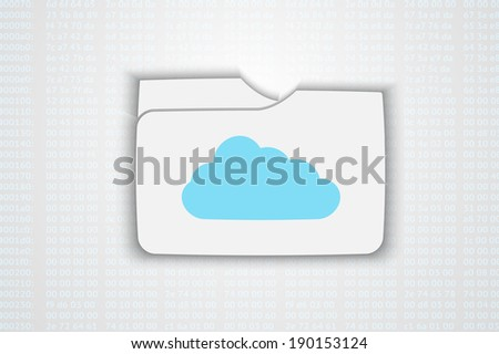 Raster version of illustration of cloud computing concept with  cloud icon and folder - stock photo