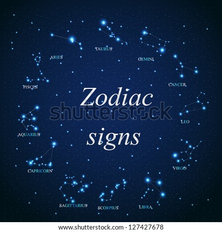 Raster version of the aries zodiac sign of the beautiful bright stars on the background of cosmic sky - stock photo