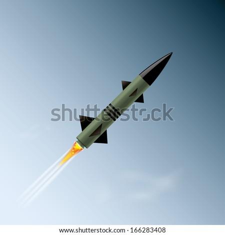 (rasterized version)rocket in the sky.  illustration. - stock photo