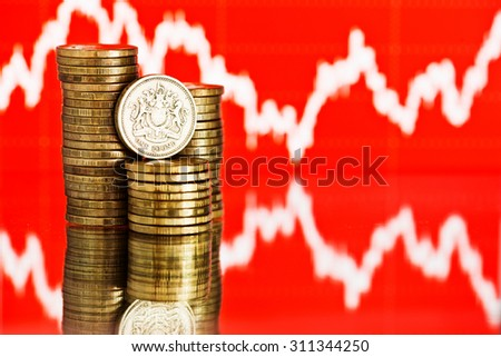 Rate of the pound sterling (shallow DOF) - stock photo