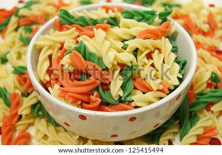 raw Colorful pasta