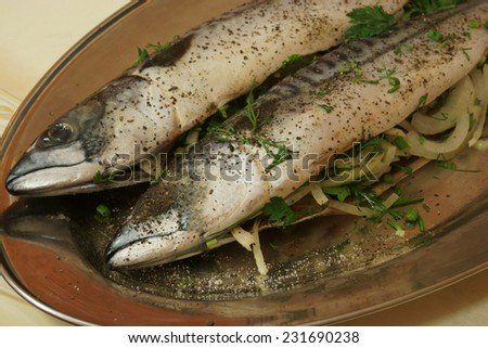 raw fish tucked onions and greens - stock photo