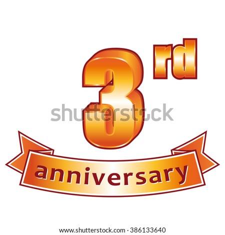 3rd anniversary. Golden label.  - stock photo