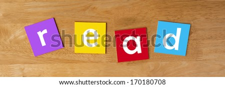 read as a word sign or poster for school children, for education & learning. - stock photo