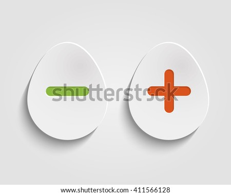 realistic egg buttons add, cancel, or the plus and minus signs on buttons in form egg icons isolated on white background - stock photo
