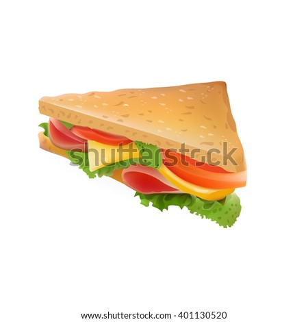 Realistic Sandwich Illustration . Isolated On White Background