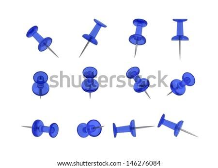 12 Realistic Thumbtacks - BLUE Set - stock photo