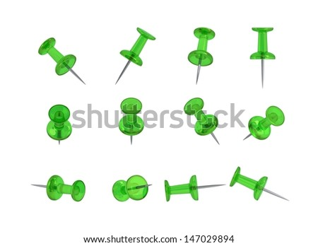 12 Realistic Thumbtacks - GREEN Set - stock photo