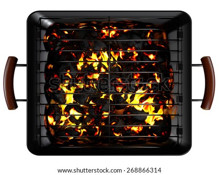 Rectangle Charcoal Grill isolated on white. Clipping paths - stock photo