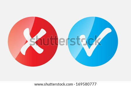 Red and Blue Check Mark Icons
