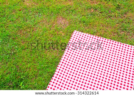 red and white textured plaid gingham table on grass