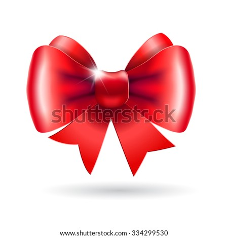 Red bow on a white background. Illustration for  posters, icons, greeting cards, print projects. Raster version - stock photo