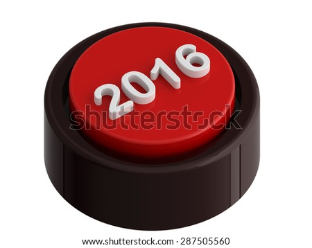 2016 red button, isolated over white, 3d render