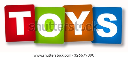 "4 red cards ""Toys"" isolated over white background"