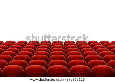 red cinema, theatre seats isolated on white background