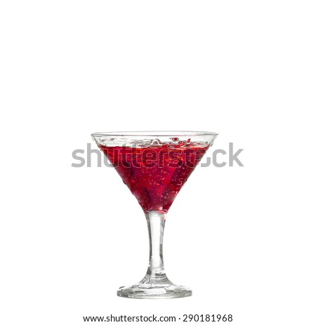 Red cocktail with isolated on white background