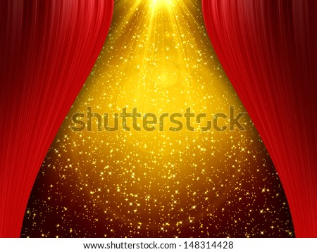 Red curtain on golden background - stock photo