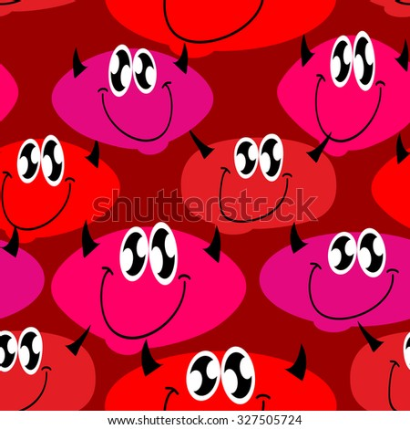 Red Devil seamless pattern. Many Devils.    - stock photo