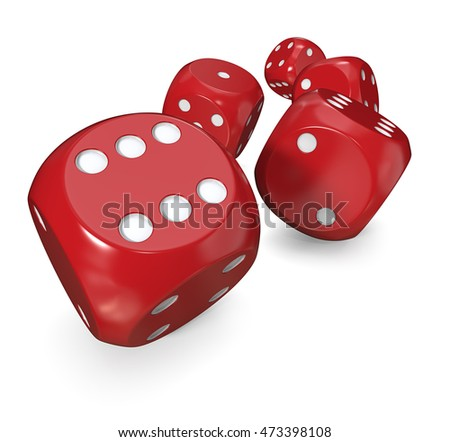 5 Red dices. 3D Render of 5 classic Red painted dices rolling forward.