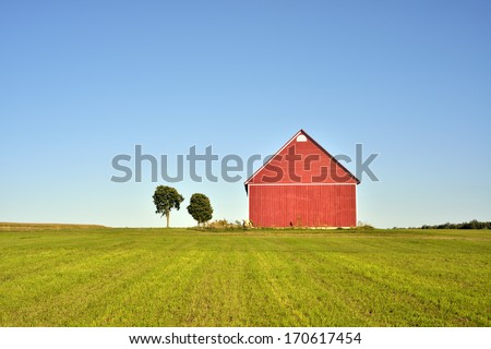 red farm - stock photo