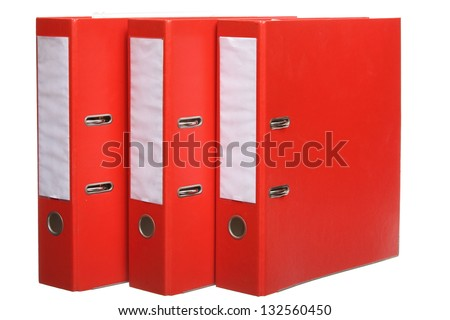 Red file folders archive isolated on white background